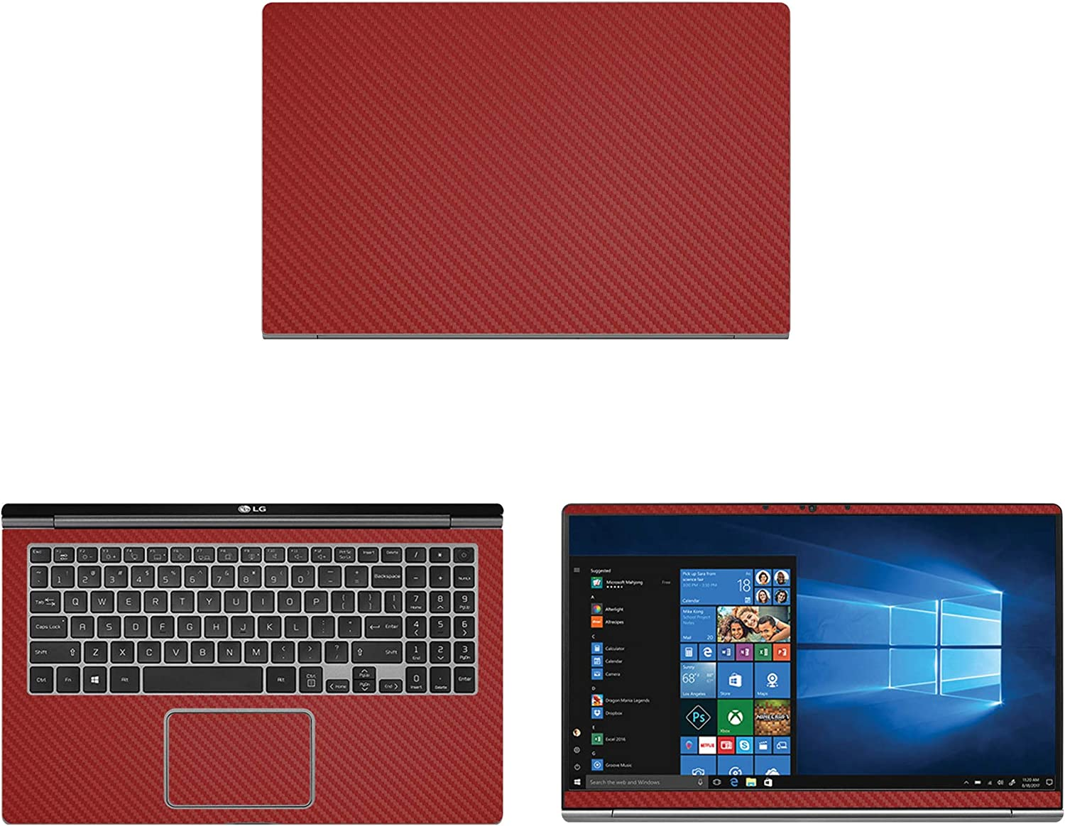 """Decalrus - Protective Decal for LG Gram 15Z990 (15.6"""" Screen) Laptop RED Carbon Fiber Skin case Cover wrap CFlgGram_15z990Red"""