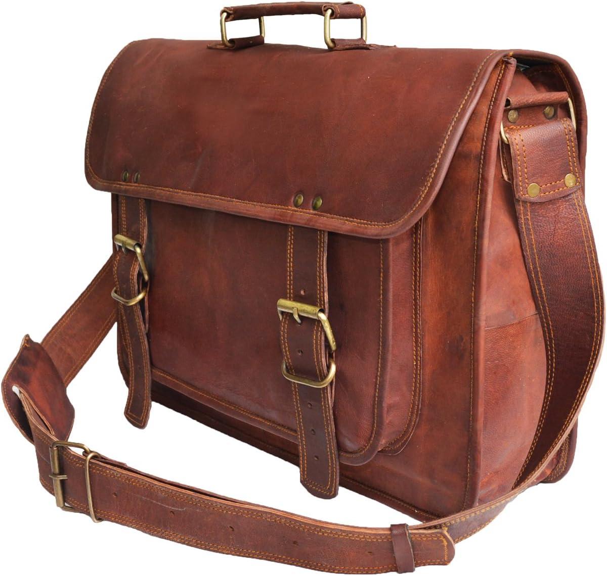 18 leather messenger bag laptop case office briefcase gift for men computer distressed shoulder bag
