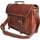 """18"""" Large brown Leather bag for men messenger bag shoulder bag mens Laptop Bag"""
