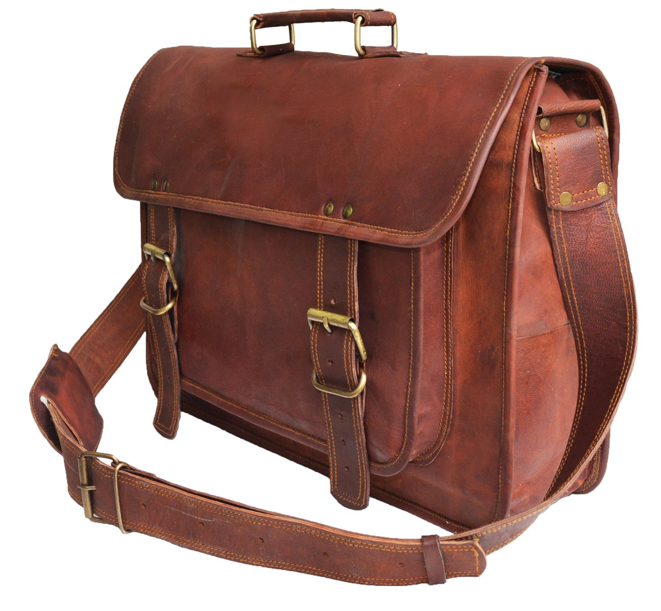 "Amazon.com  18 "" Large brown Leather bag for men messenger bag shoulder bag  mens Laptop Bag  Computers   Accessories … 7e1feb3c7d228"