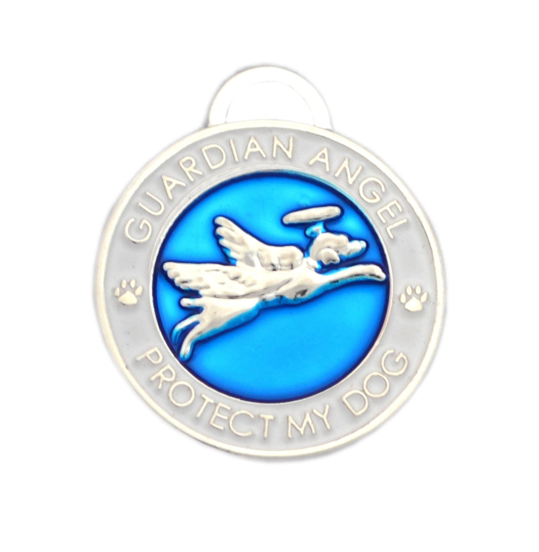 Luxepets Pet Collar Charm, Guardian Angel Dog, Blue