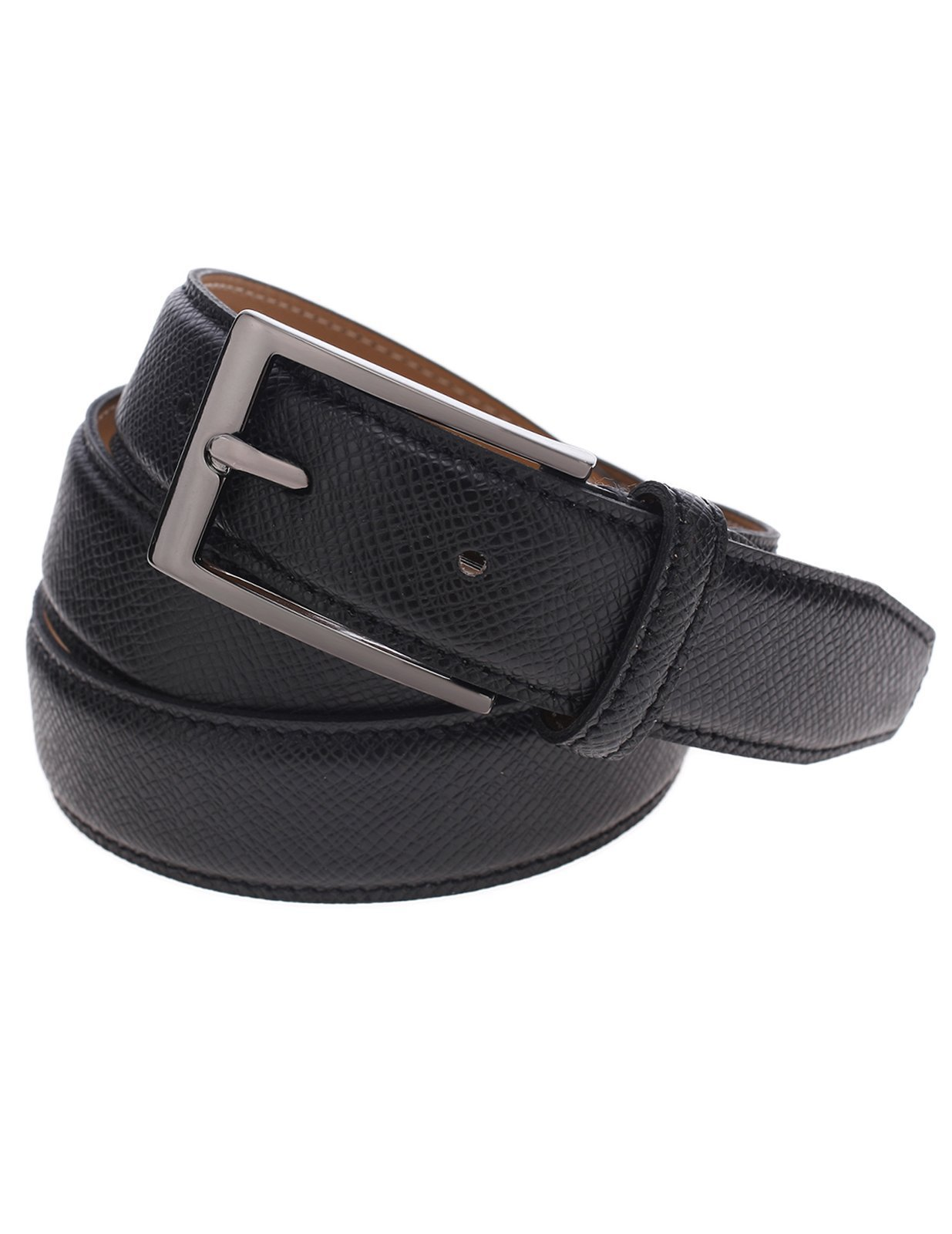 FLATSEVEN Mens Classic Grained Leather Belt with Single Silver Tone Buckle (Y403) Black