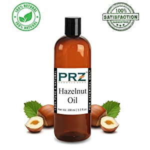 PRZ Hazelnut Cold Pressed Carrier Oil (100ML) - Pure Natural & Therapeutic Grade Oil For Aromatherapy Body Massage, Skin Care & Hair Care