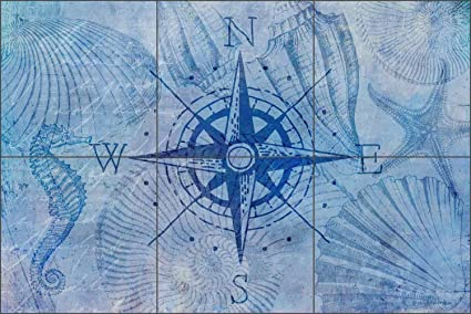 Superbe Tile Mural Backsplash Vintage Nautical Compass By Andrea Haase Ceramic  Kitchen Wall (18u0026quot; X