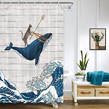 Cartoon Style Cat Knight Riding Narwhal Whale Shower Curtain Set Bathroom Decor