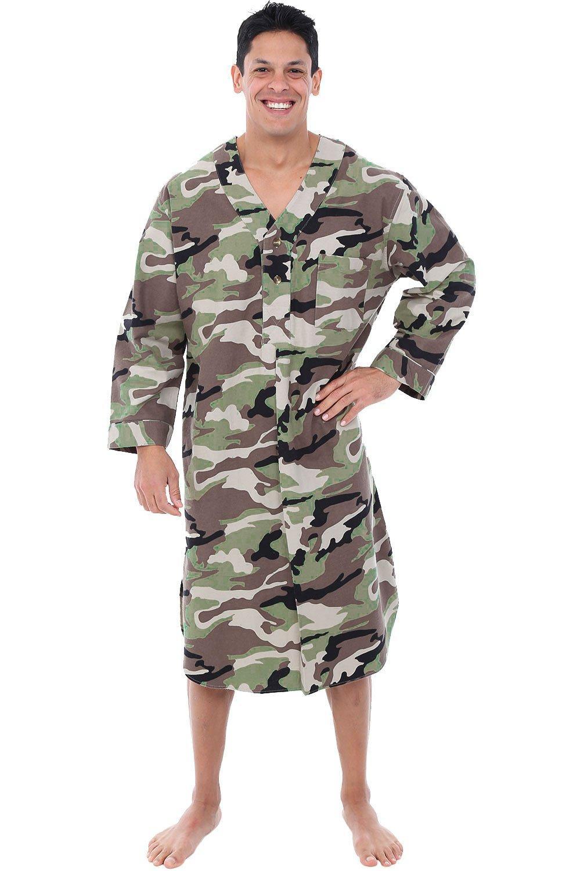 Alexander Del Rossa Mens Flannel Nightshirt, Long Lightweight Cotton Kaftan, Small Camouflage (A0548T43SM)
