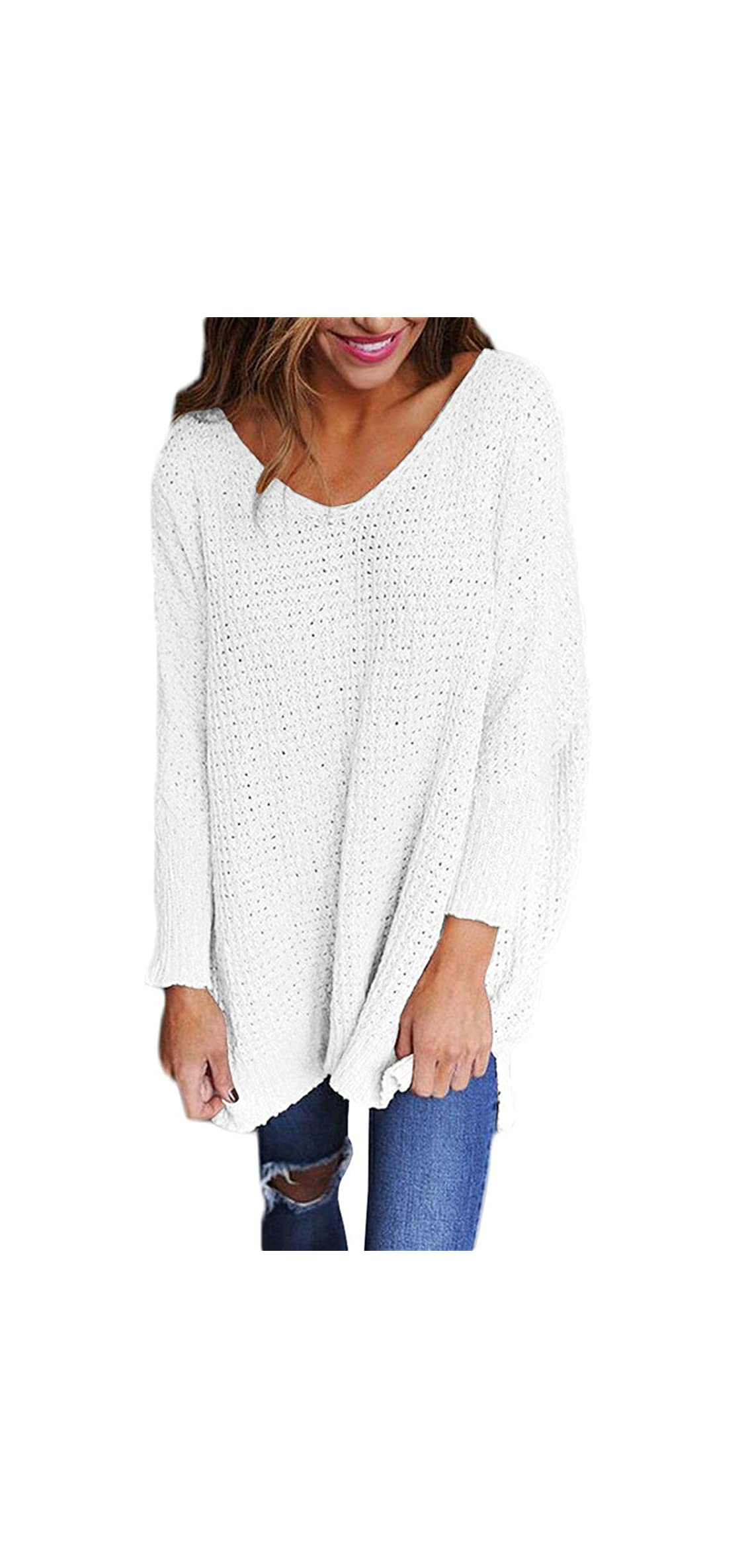 Sweater Women Long Sleeve Blouse V-neck Pullover Baggy