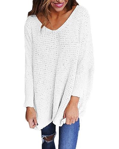 StyleDome Donna Maglietta Manica Lunga Collo V Moda Elegante T-Shirt Maglia Nuovo Top