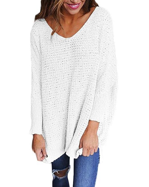 StyleDome Blusa Camisa Mujer Mangas Largas Mujeres Camiseta Cuello V Otoño Nuevo Blanco S