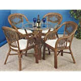 Malibu Antique Rattan And Wicker Rattan Indoor 6 Pc Arm Chairs Round Dining Set From