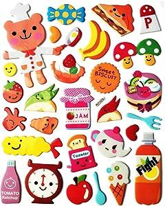 PP Sticker 1 Sheet Bear Cook Food Cartoon Bubble Wall Stickers Art Decal Mural Kids Bedroom Decor Design Scrapbooking Card Diary Album for Kids Children