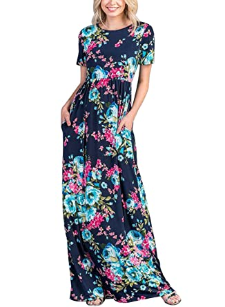 ace8f35bbe2 Lovezesent Women Summer Short Sleeve Criss Cross Back Floral Printed Casual  Loose Plain Flowy Long Maxi Dresses Holiday Party Navy Medium at Amazon  Women s ...