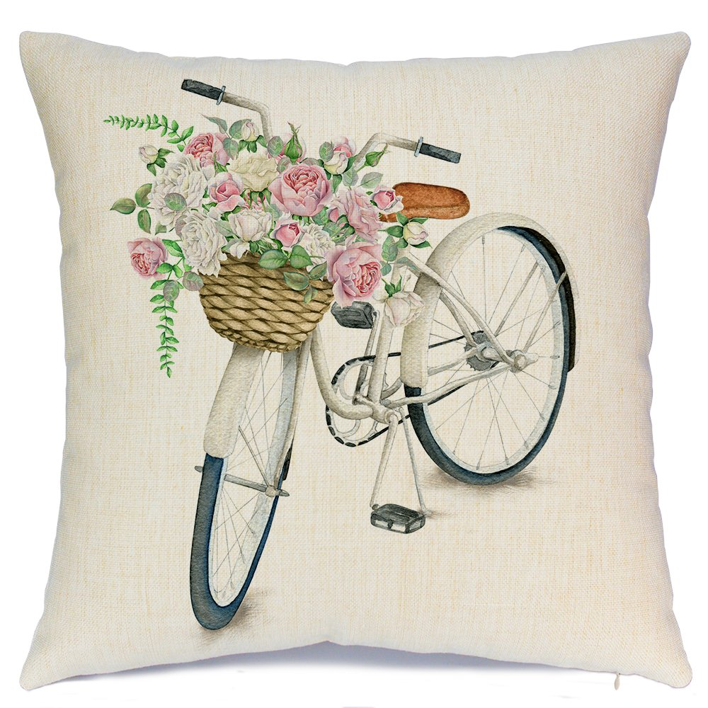 White Bicycle Flower Vintage Spring Home Decorative Throw Pillow Case Cushion Cover Cotton Linen