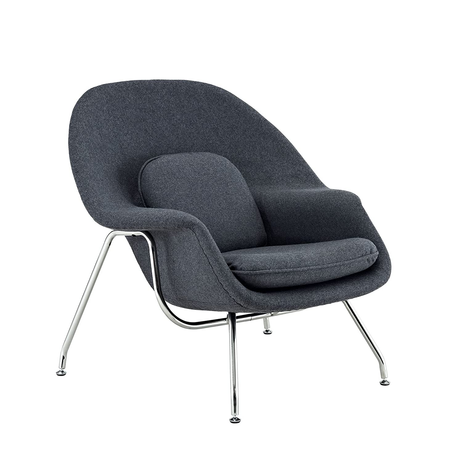 amazoncom modway eero saarinen style womb chair and ottoman set in dark gray kitchen u0026 dining