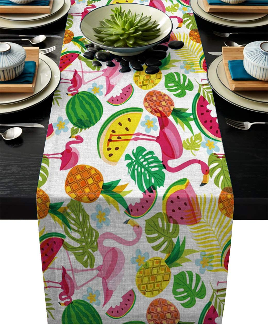 Pink Flamingo Table Runner Flock Of Flamingos by michaelzindell Bright Tropical  Summer Jungle Cotton Sateen Table Runner by Spoonflower