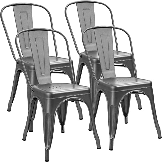Amazon Com Furniwell Metal Dining Chairs Indoor Outdoor Use Stackable Kitchen Chair Trattoria Side Chic Dining Bistro Cafe Chairs With Back Set Of 4 Grey Furniture Decor