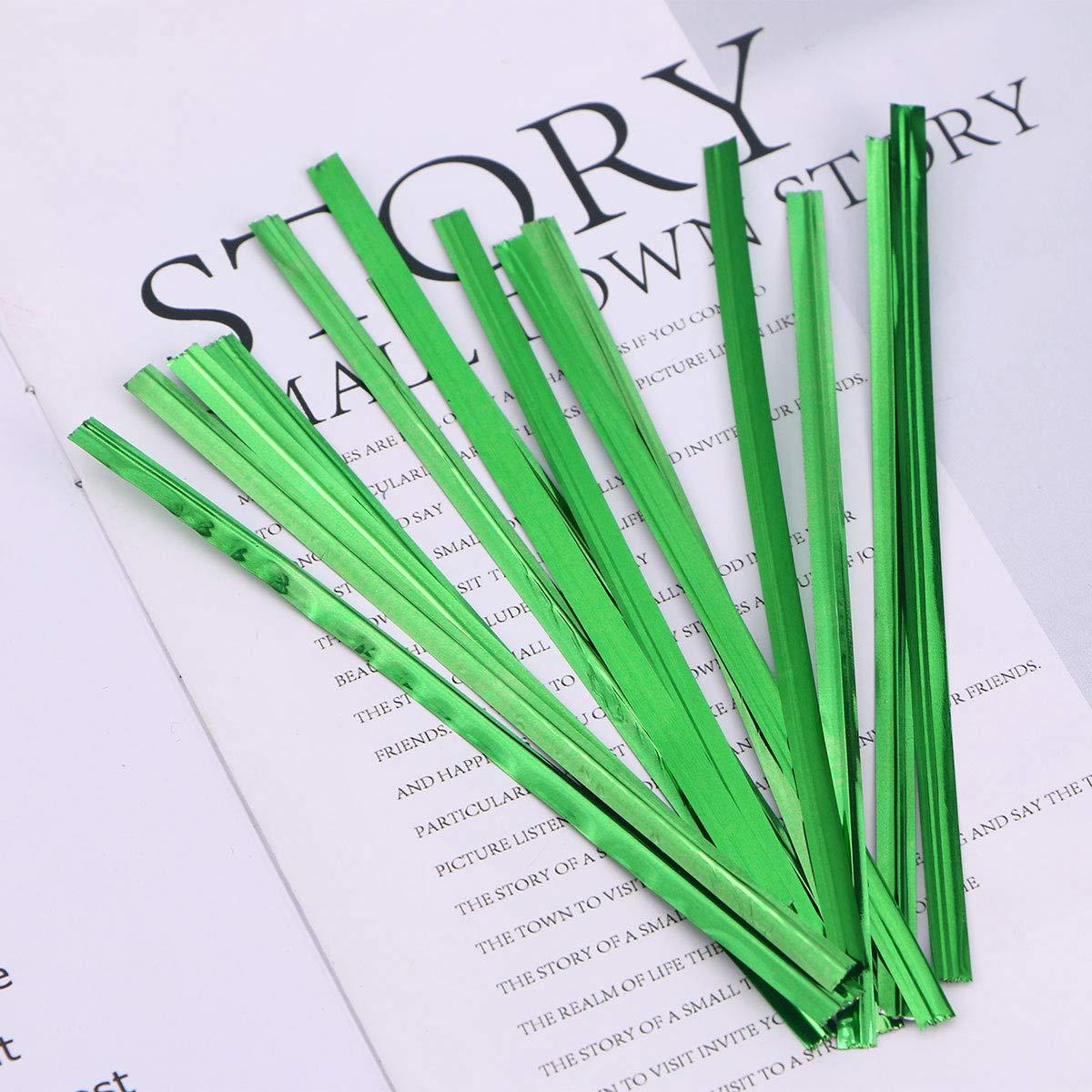 Legami colorati Toyvian Torsoli metallici Twist Ties Caramelle Sacco Lollipop Pacchi Torsione per la festa di compleanno Festa di nozze 800pcs 10cm verde