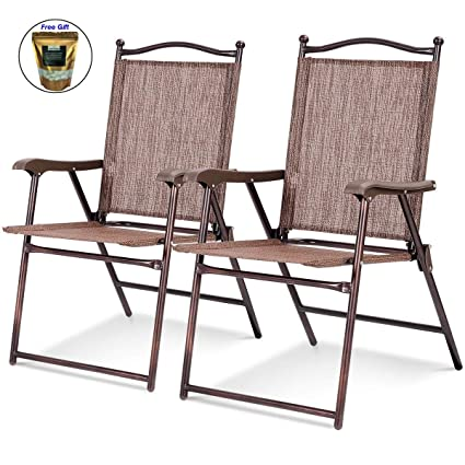 Pleasant Amazon Com Set Of 2 Patio Folding Sling Back Camping Deck Gmtry Best Dining Table And Chair Ideas Images Gmtryco