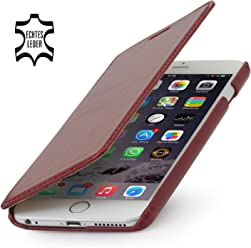 StilGut Book Type Case, custodia in vera pelle a libro con apertura laterale per Apple iPhone 6s Plus (5.5''), Rosso Vinaccia