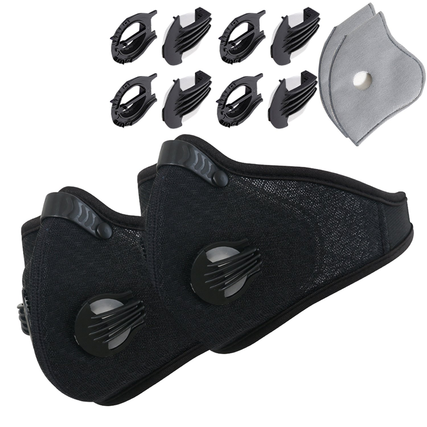 Novemkada Dustproof Masks - Activated Carbon Dust Mask with Extra Filter Cotton Sheet and Valves for Exhaust Gas, Pollen Allergy, PM2.5, Running, Cycling, Outdoor Activities (Black+Black, Dust Masks)