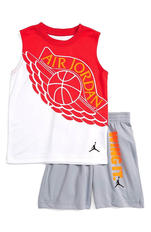 aecd1277790 Galleon - Jordan Air Jordan Boy`s T-Shirt And Shorts 2 Piece Set (Wolf  Grey(754043-174)/Max Orange, 3T)