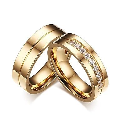 KNSAM - Anillos de boda de acero inoxidable Pareja de oro para él y ella, Anillos de compromiso de piedra de zirconia dorada Mujer 12 & Hombre 17: ...