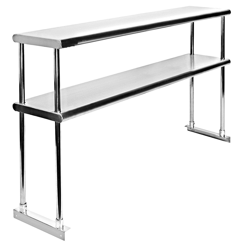 Adjustable Double Overshelf 18 x 36 - Stainless Steel