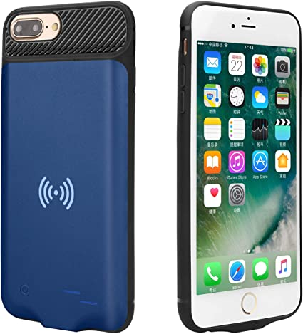 Epuirie Battery Case for iPhone 6 Plus 6S Plus 7 Plus 8 Plus with QI Standard Wireless Charging, 5000mAh External Power Bank Portable