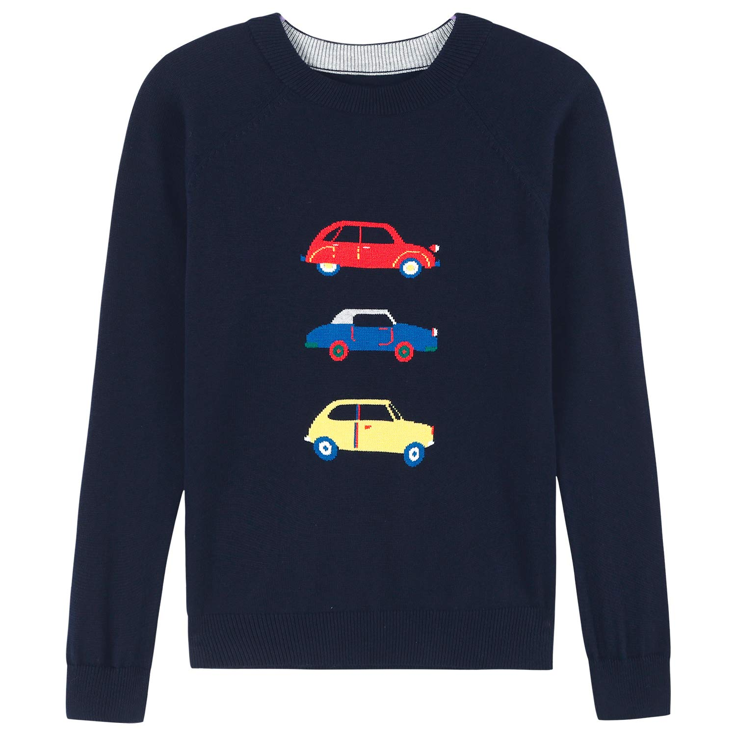 Adory Sweety Tops Sweater for Kids Baby Boy Toddler Soft &Cute Crew Neck Jacquard Knit with Colorful Cars Long Sleeve Pullover (Navy, 8Y)