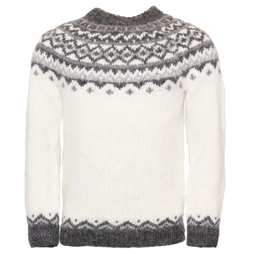 ICEWEAR Skjoldur Men's Sweater Hand Knitted Design 100% Icelandic Wool Sweater Without Zipper