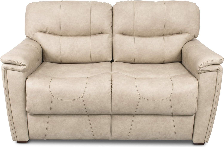 "Thomas Payne 379930 Grantland Doeskin 68"" Tri-Fold RV Sleeper Sofa with Tan Topstitch and 53"" x 72"" x 19"" Sleeping Surface"