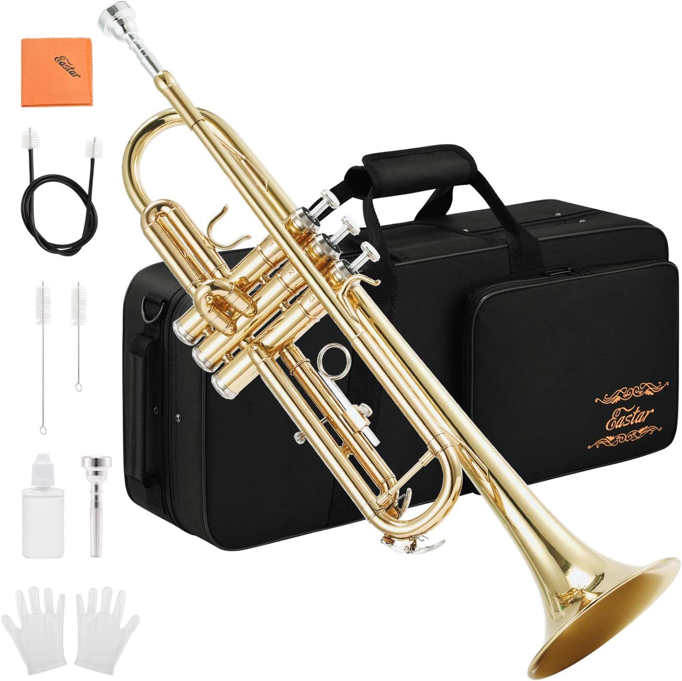 Eastar Gold Trumpet Brass Standard Bb Trumpet Set Etr-380