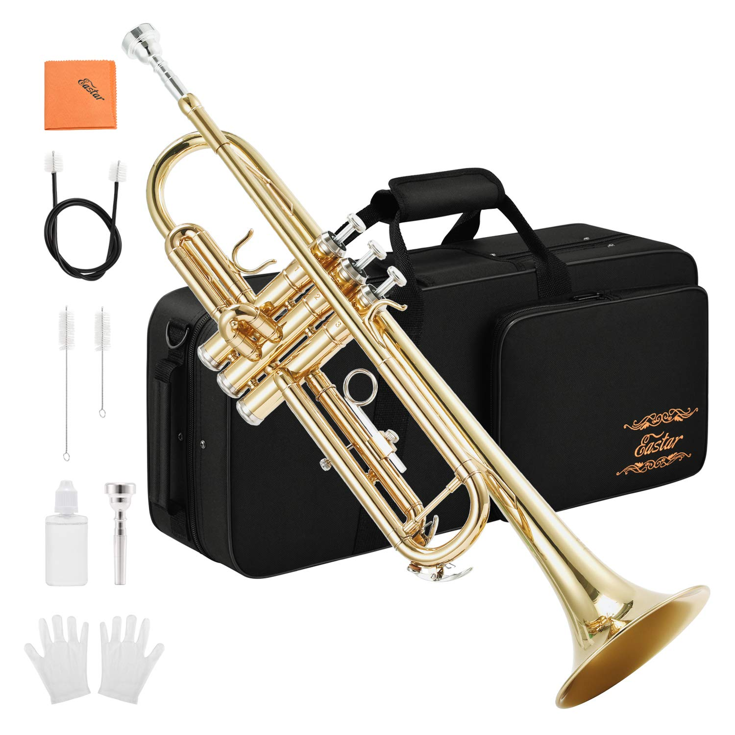 Eastar Gold Trumpet Brass ETR-380 Standard Bb Trumpet Set For Student Beginner With Hard Case,Gloves, 7 C Mouthpiece, Valve Oil and Trumpet Cleaning Kit by Eastar