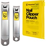 Harperton Nail Clippers Set - 2 Pack Stainless Steel, Professional Fingernail & Toenail Clippers for Thick Nails