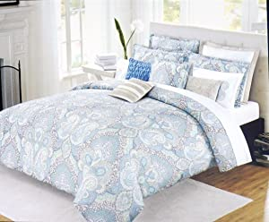 Nicole Miller Bedding 3 Piece Full / Queen Duvet Cover Set Green Blue Charcoal Gray Yellow Cream Floral Paisley Medallion Pattern