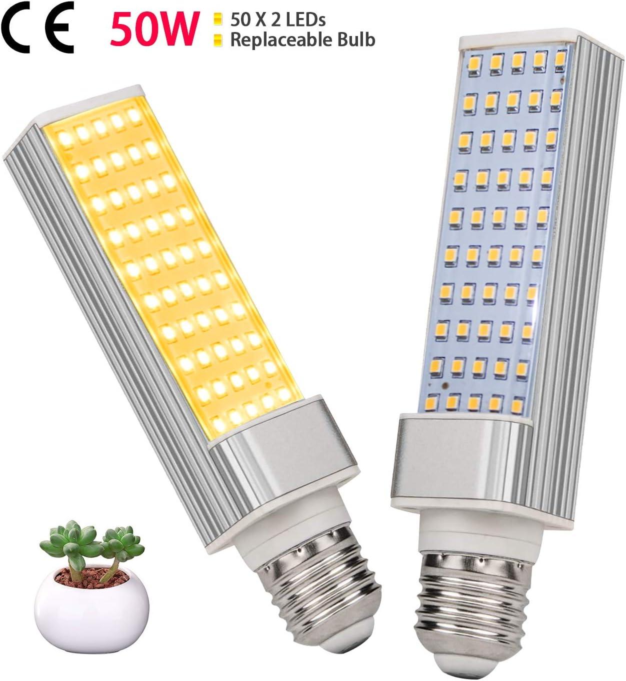 LED Grow Light for Indoor Plants, KINGBO 50W Sunlike Full Spectrum Grow Lamp, LED Grow Lamp for Indoor Garden Seedling Growing 2PCS Plant Growing Light Bulb