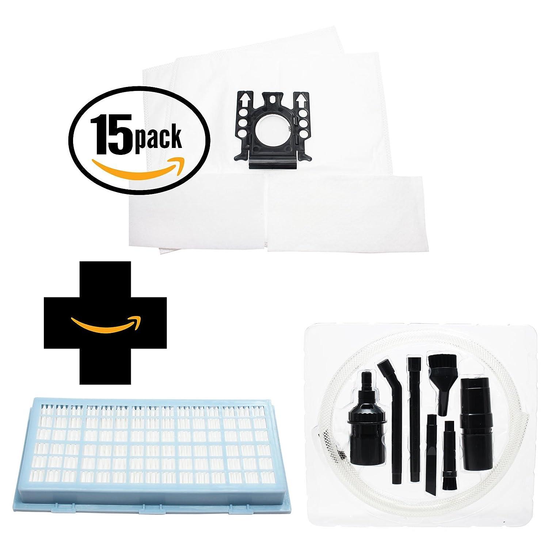 30交換用フィルターMiele s516i Cat & Dog真空バッグ、30 Micro & 1 HEPAフィルタ7ピースマイクロ真空アタッチメントキット – 互換性Miele Type FJMバッグ、Micro Filters & sf-ah 30、sf-ha 30 , ah30フィルタ(15-pack、2パックバッグ)   B0100YUUZA