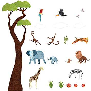 Jungle Wall Decals By My Wonderful Walls U2013 Peel U0026 Stick Jungle Tree Decals,  Safari