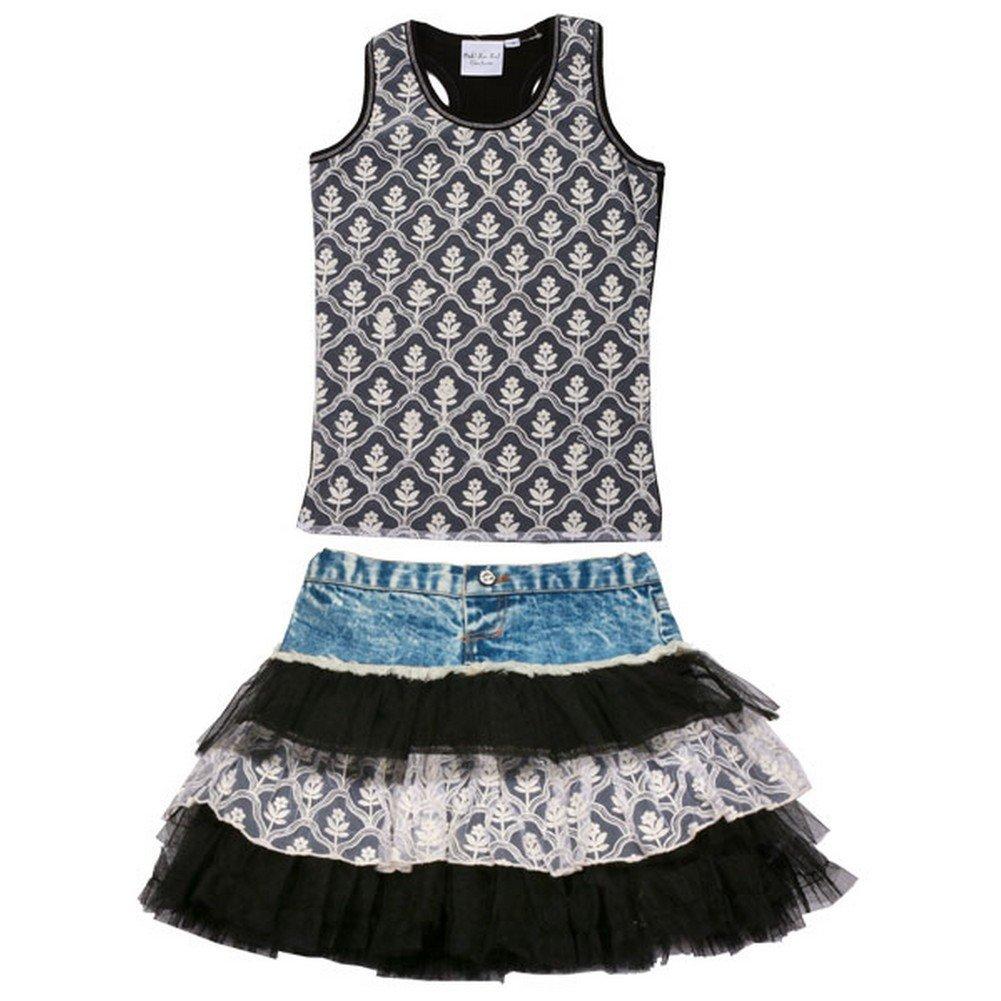 Ooh La La Couture Little Girls Black Blue Denim Ruffle 2 Pc Skirt Set 2T