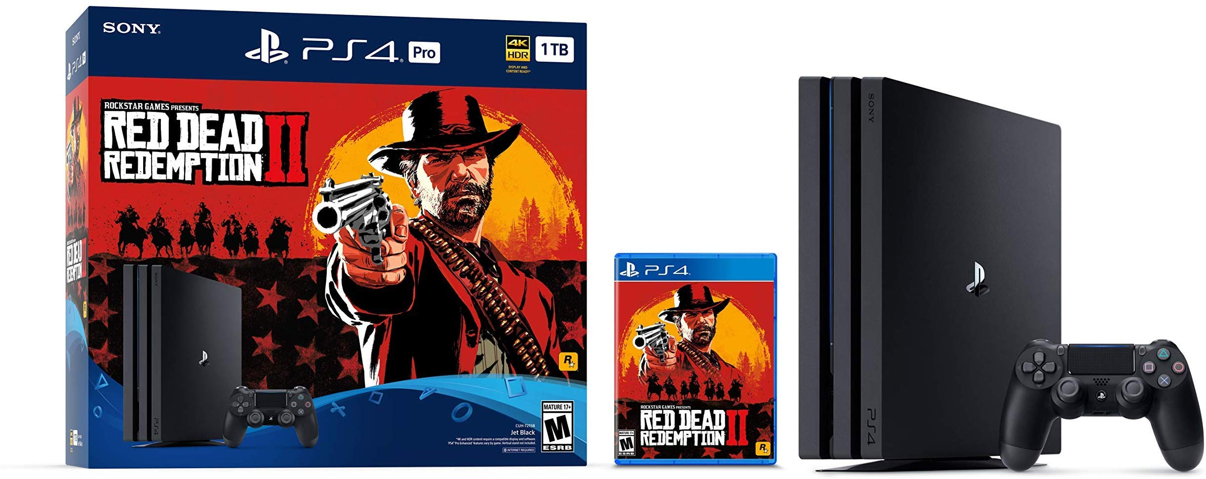 Playstation 4 Pro 1TB/2TB Console Jet Black 4K HDR Gaming Console Red Dead Redemption 2, Customize 1TB/2TB HDD/SSHD, 1TB HDD
