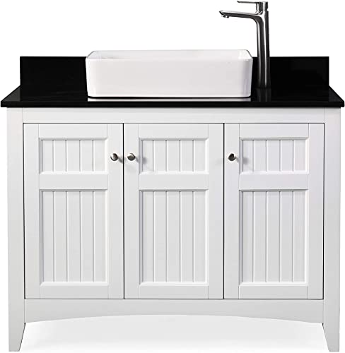 42 Thomasville Farmhouse White Vessel Sink Bathroom Vanity ZK-77888GT
