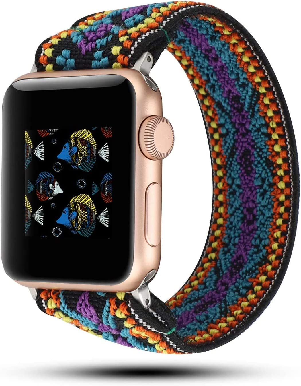 OnederHome Stretchy Sport Loop Strap Compatible for Apple Watch Band 38mm 40mm 42mm 44mm iWatch Series 6/SE/5/4/3/2/1 Stretch Elastics Wristbelt (Purple, 42/44mm for Small Wrist)