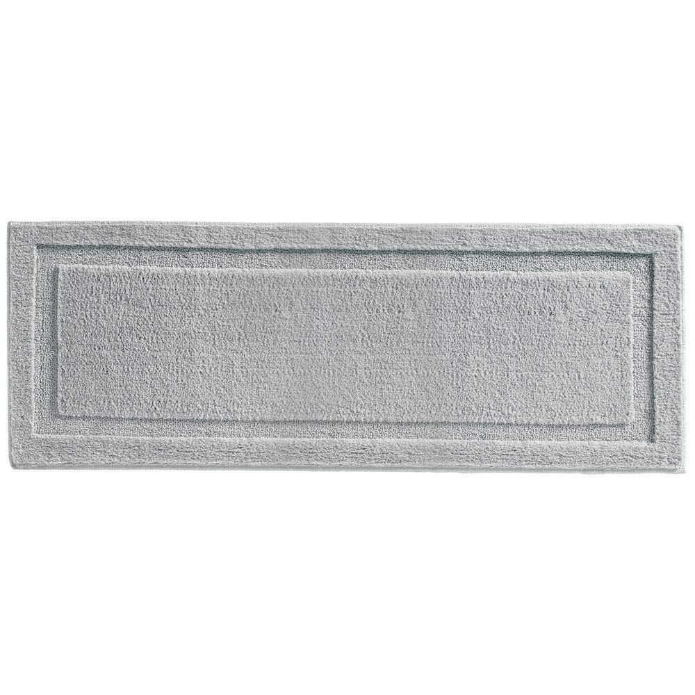 mDesign Soft Microfiber Polyester Non-Slip Extra-Long Spa Mat/Runner, Plush Water Absorbent Accent Rug for Bathroom Vanity, Bathtub/Shower, Machine Washable - 60'' x 21'' - Gray