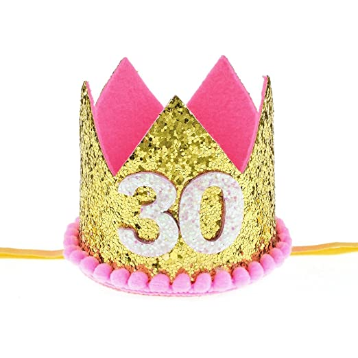 Floral Fall 30th Birthday Golden Hot Pink Crown Headband Adult Party Hat HG 04