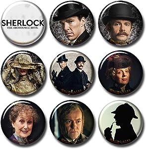 Pentagonwork Sherlock BBC 9 pcs Button Pins Set Pack TV Series 010-P005 Sherlock Holmes Christmas Sp Bride,Party Favors Supplies Gifts Home Decor (Round 1.5 inch 3.7cm)