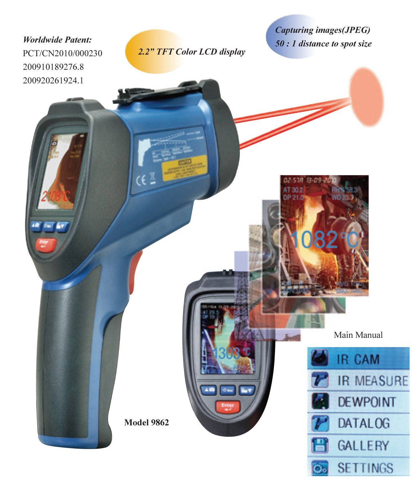 Ruby Electronics DT-9862 Professional 50:1 IR Dual Laser Video Thermometer up to 3992 deg F 2200 deg C, Type K Thermocouple, Air, Dew Point, Wet Bulb Temp and Air Humidity Meter with Camera and USB Interface