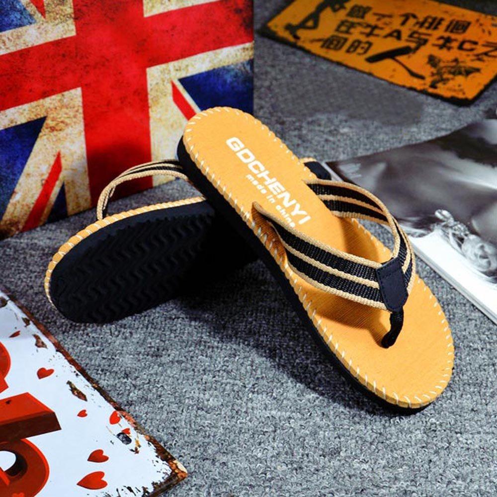 Respctful✿Men Flip Flops Lightweight Casual Thong Sandals Outdoor Anti Slip Indoor Sandals Beach Slippers Khaki by Respctful_shoes (Image #3)