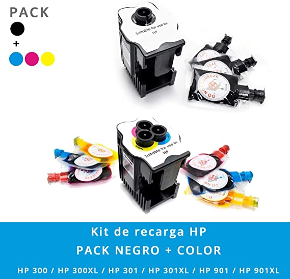 Kit de Recarga para Impresoras HP 300/301 / 301XL / 302XL / 304XL / 901 · Incluye Dos Estaciones de Recarga + 9 Recargas (3 Negro x 6 ml) (2 Cyan x 6 ml) (2 Magenta x 6 ml) (2 Amarillo x 6 ml): Amazon.es: Electrónica