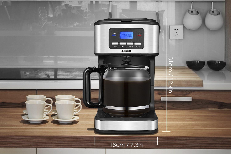 Cafetera programable, Aicok Cafetera 12 tazas, Drip Cafetera con ...
