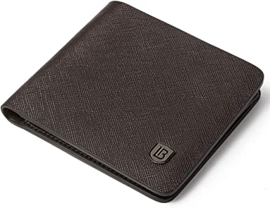 Mens Genuine Leather Bifold Wallet with 2 ID Window and RFID Blocking Coffee